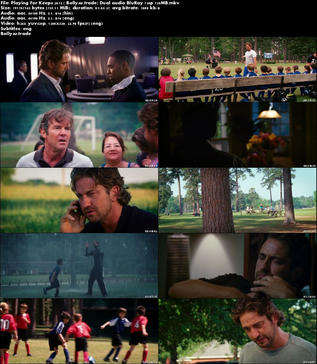 Playing For Keeps 2012 BluRay 350MB Hindi Dual Audio 480p Download
