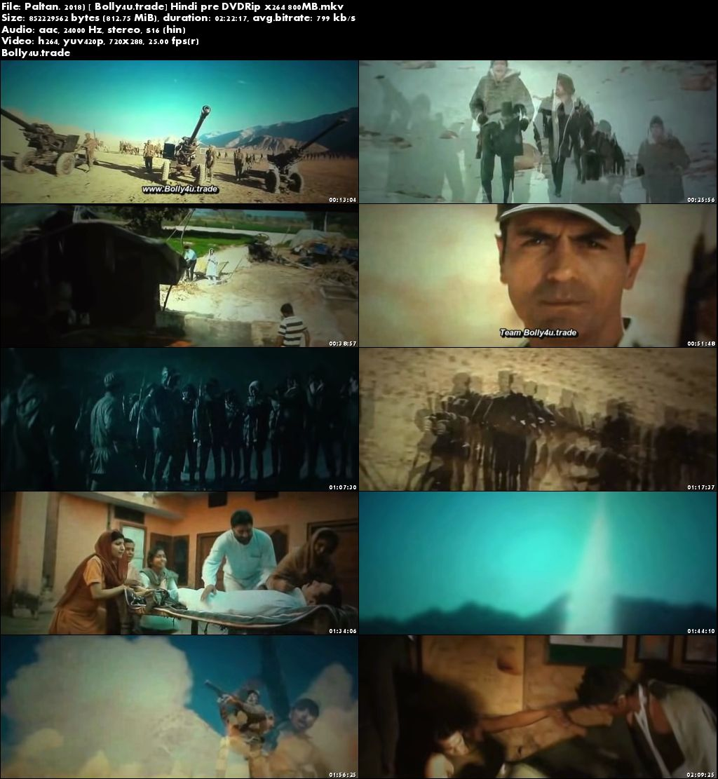 Paltan 2018 Pre DVDRip 800MB Full Hindi Movie Download x264