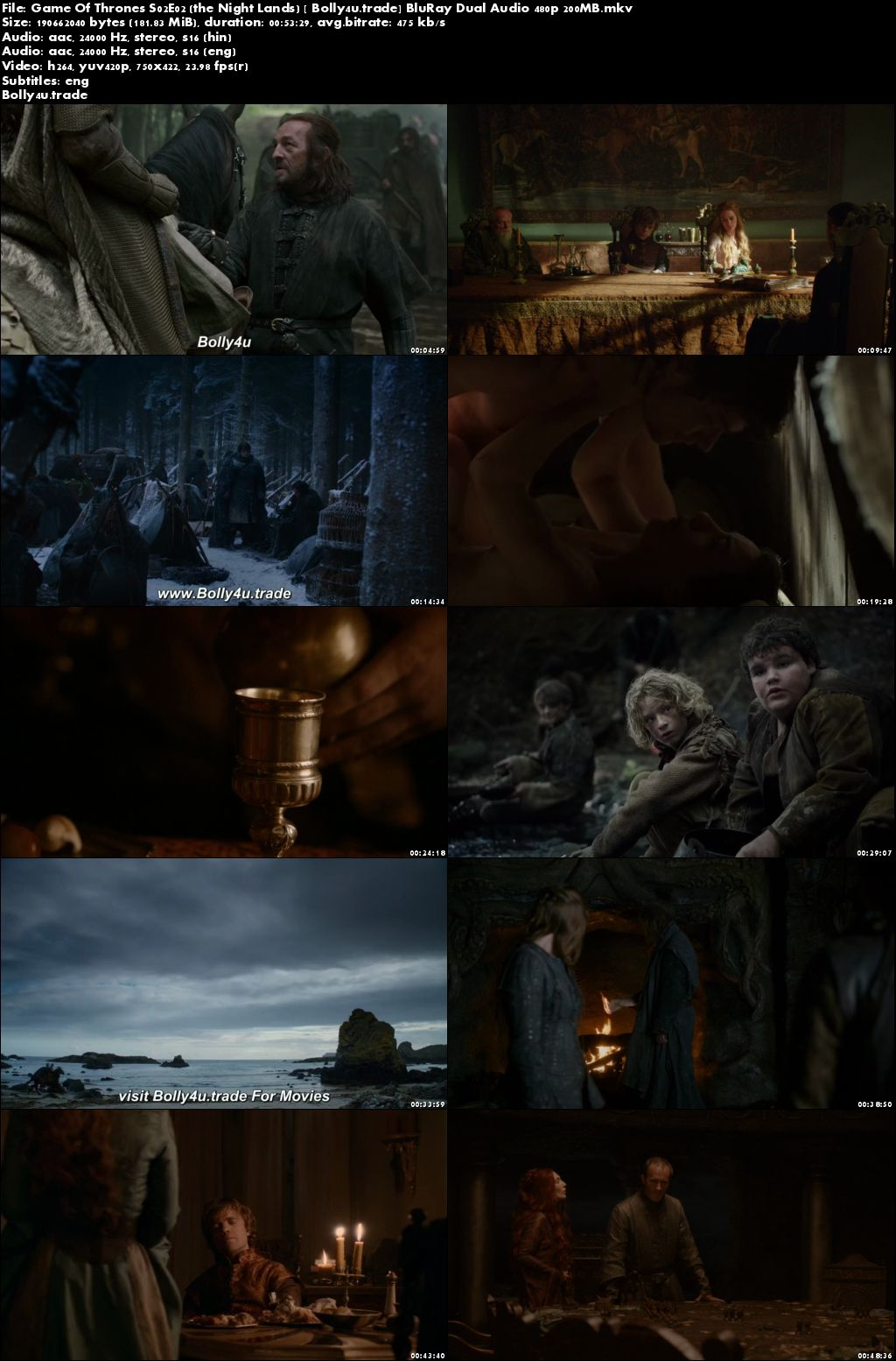 Game Of Thrones S02E02 BluRay 200MB Hindi Dual Audio 480p Download