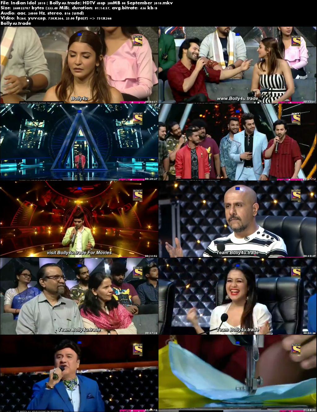 Indian Idol 2018 HDTV 480p 200MB 08 September 2018 Download