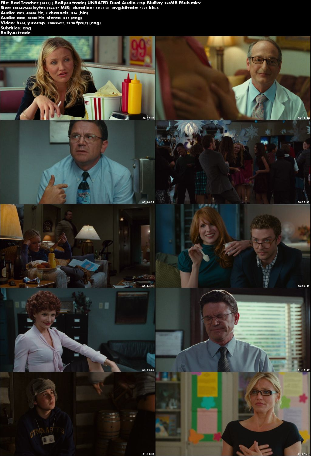 Bad Teacher 2011 BluRay 300MB UNRATED Hindi Dual Audio 480p ESub Download