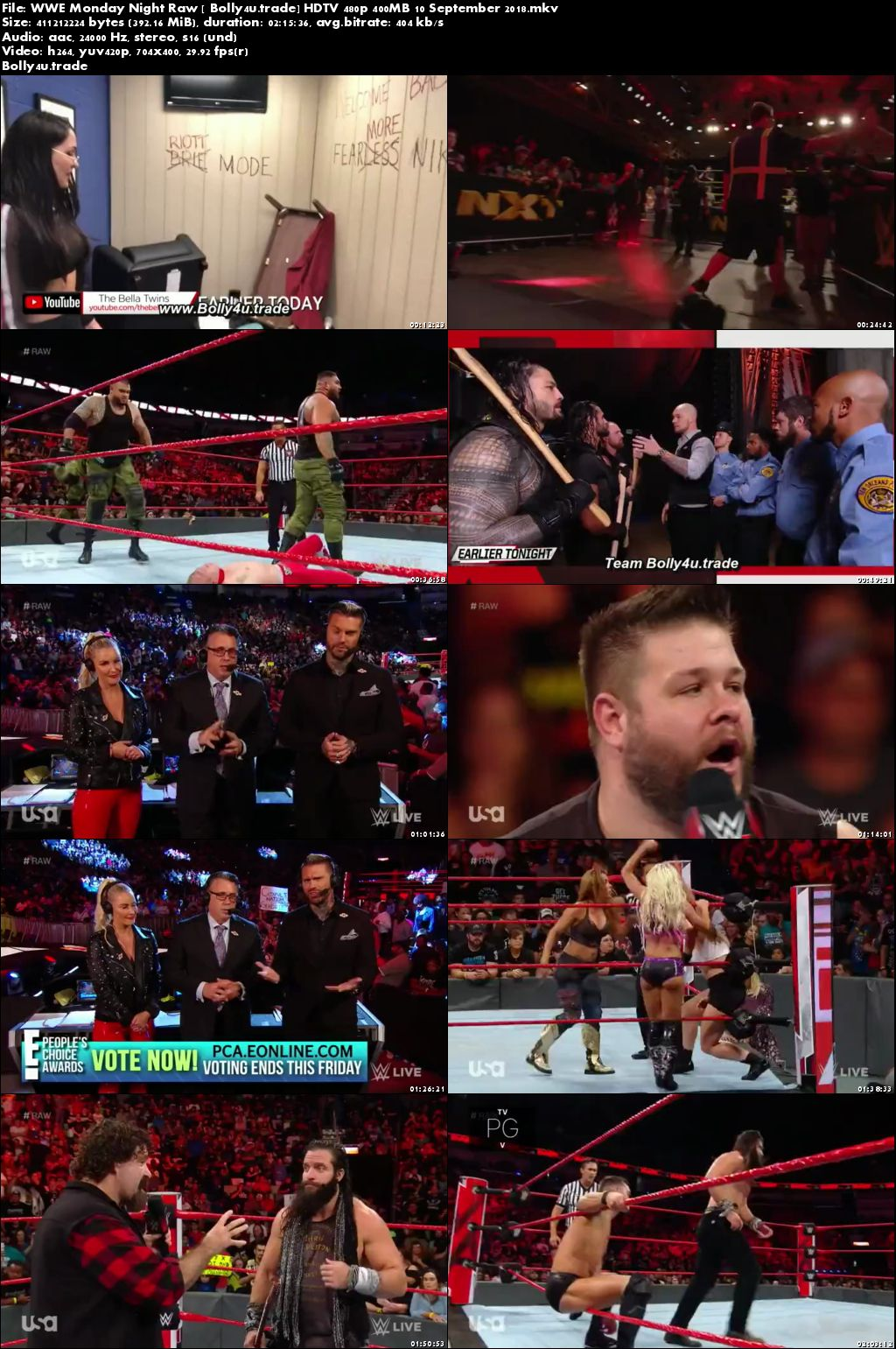 WWE Monday Night Raw HDTV 480p 400MB 10 September 2018 Download