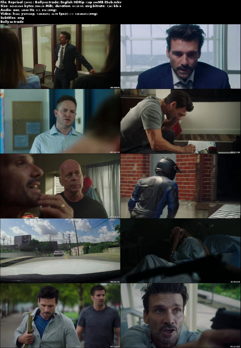 Reprisal 2018 HDRip 800Mb Full English Movie Download 720p ESub