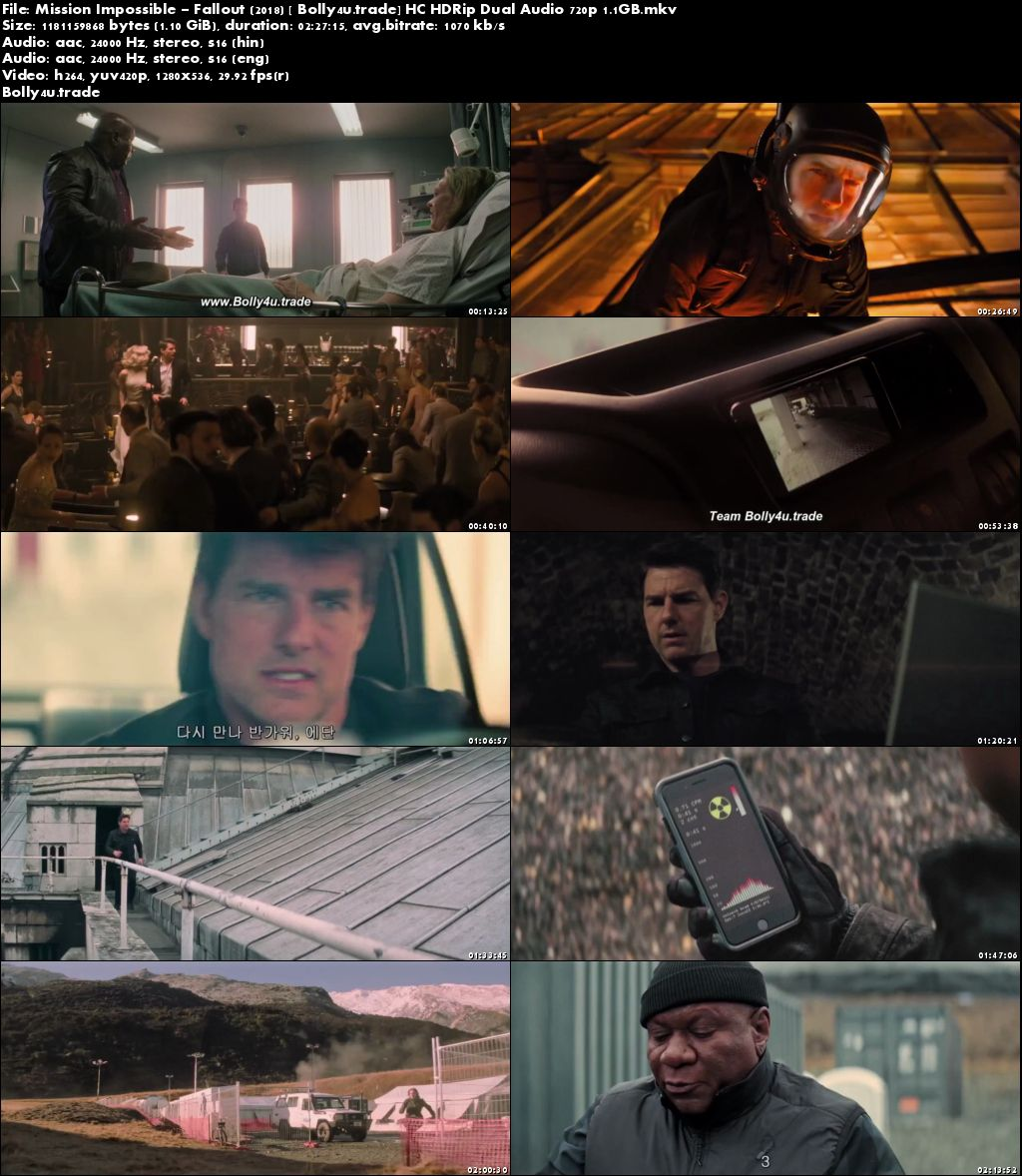 Mission Impossible Fallout 2018 HC HDRip 450MB Hindi Dual Audio 480p Download