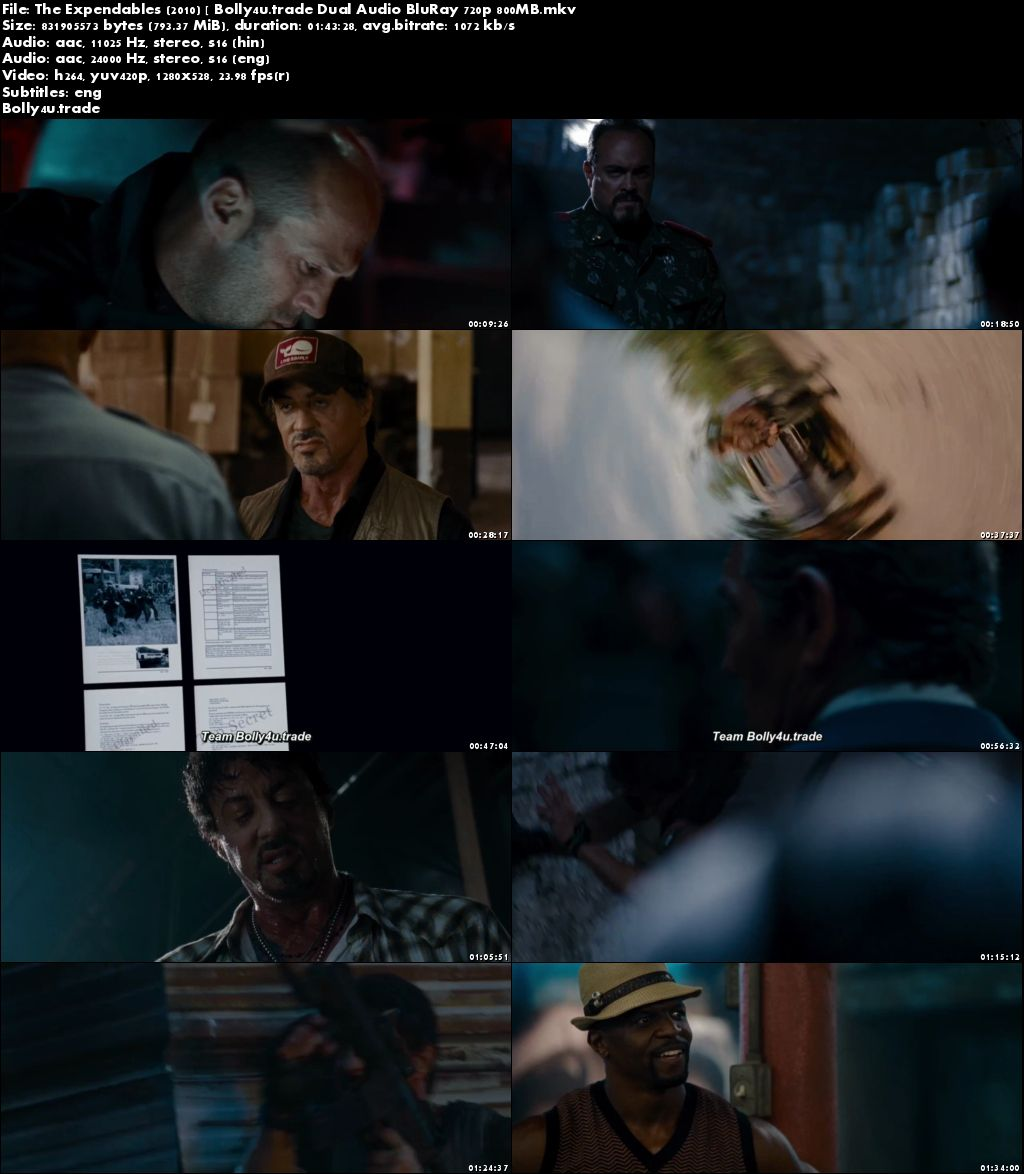 The Expendables 2010 BRRip 800Mb Hindi Dual Audio 720p Download