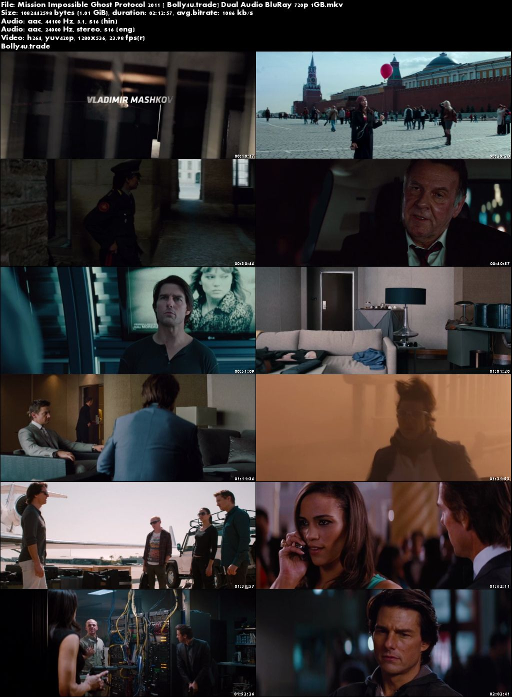 Mission Impossible Ghost Protocol 2011 BRRip 400MB Hindi Dual Audio 480p Download