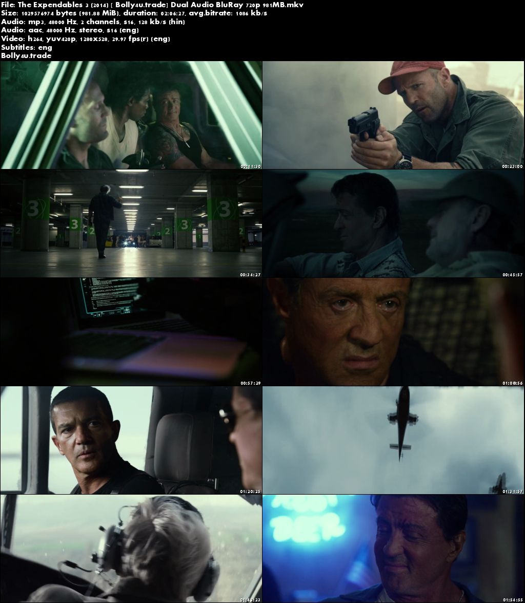 The Expendables 3 2014 BRRip 950MB Hindi Dual Audio 720p Download
