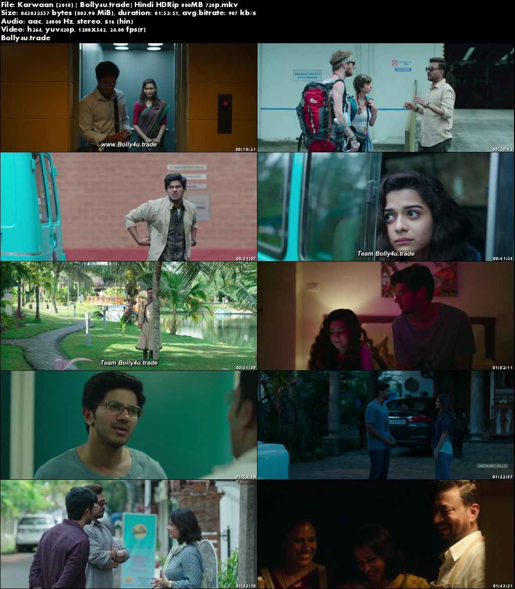 Karwaan 2018 HDRip 300Mb Full Hindi Movie Download 480p