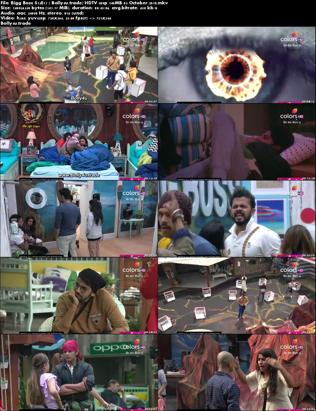 Bigg Boss S12E17 HDTV 480p 140MB 03 October 2018 Download