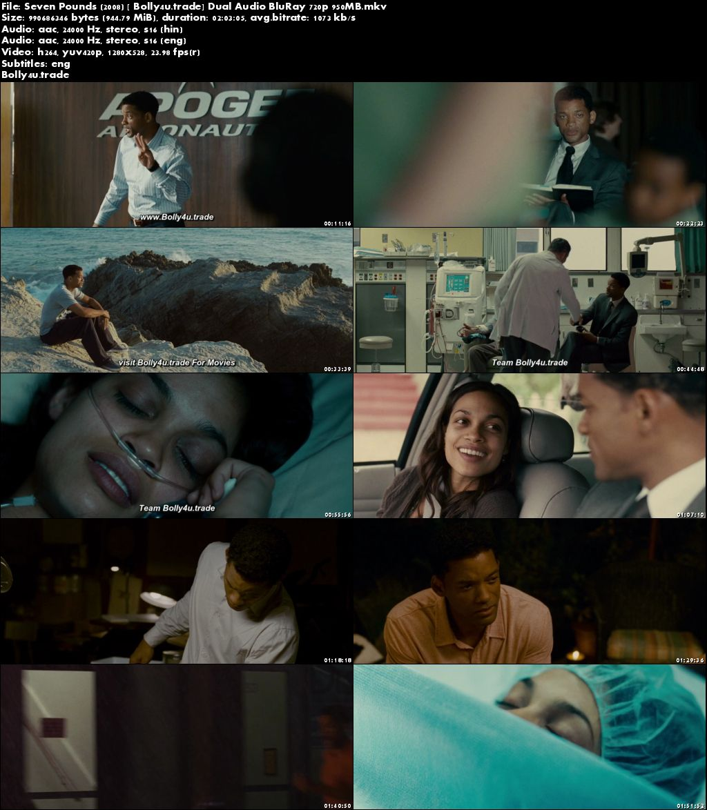 Seven Pounds 2008 BRRip 300MB Hindi Dual Audio 480p Download