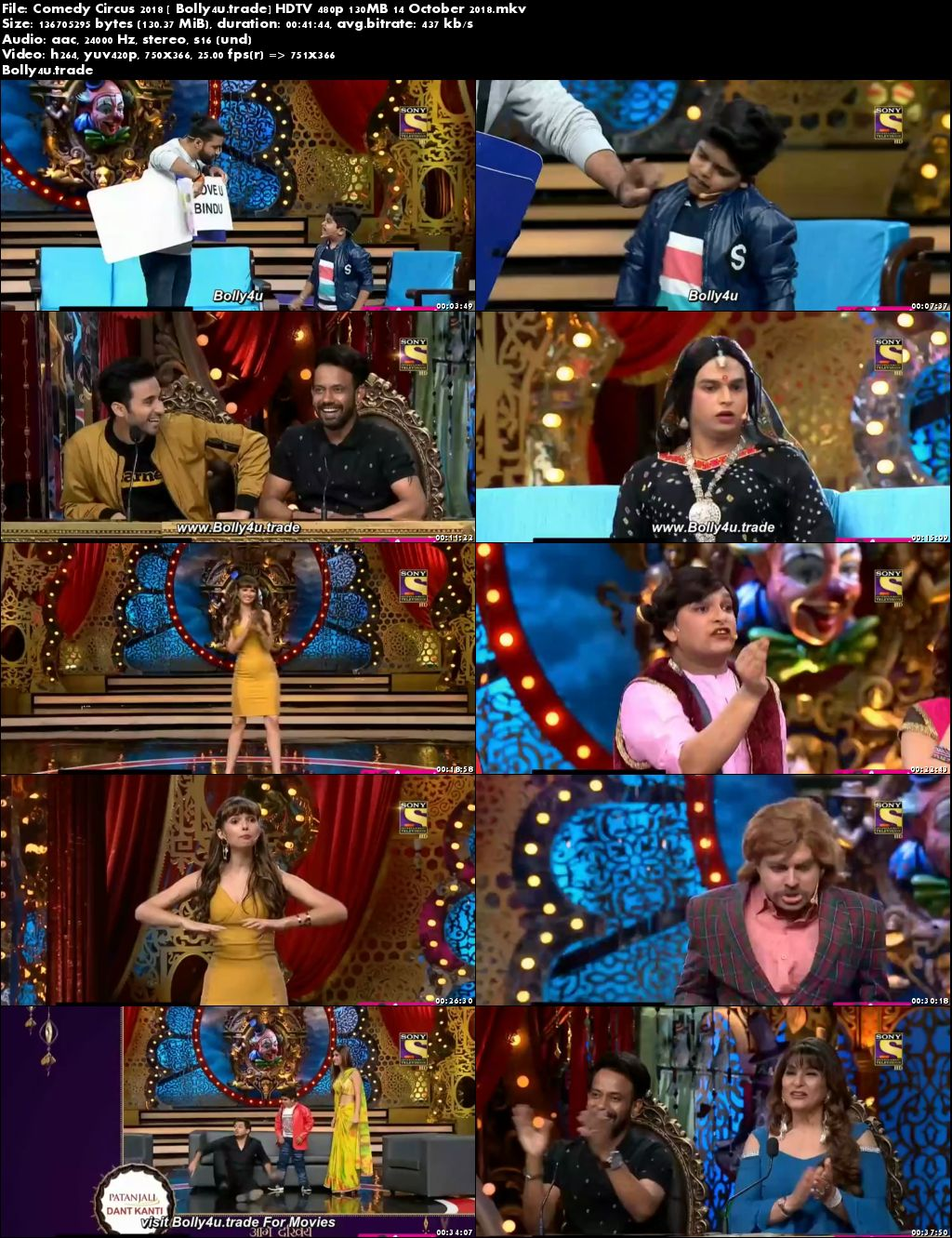 Comedy Circus 2018 HDTV 480p 130MB 14 October 2018 Download