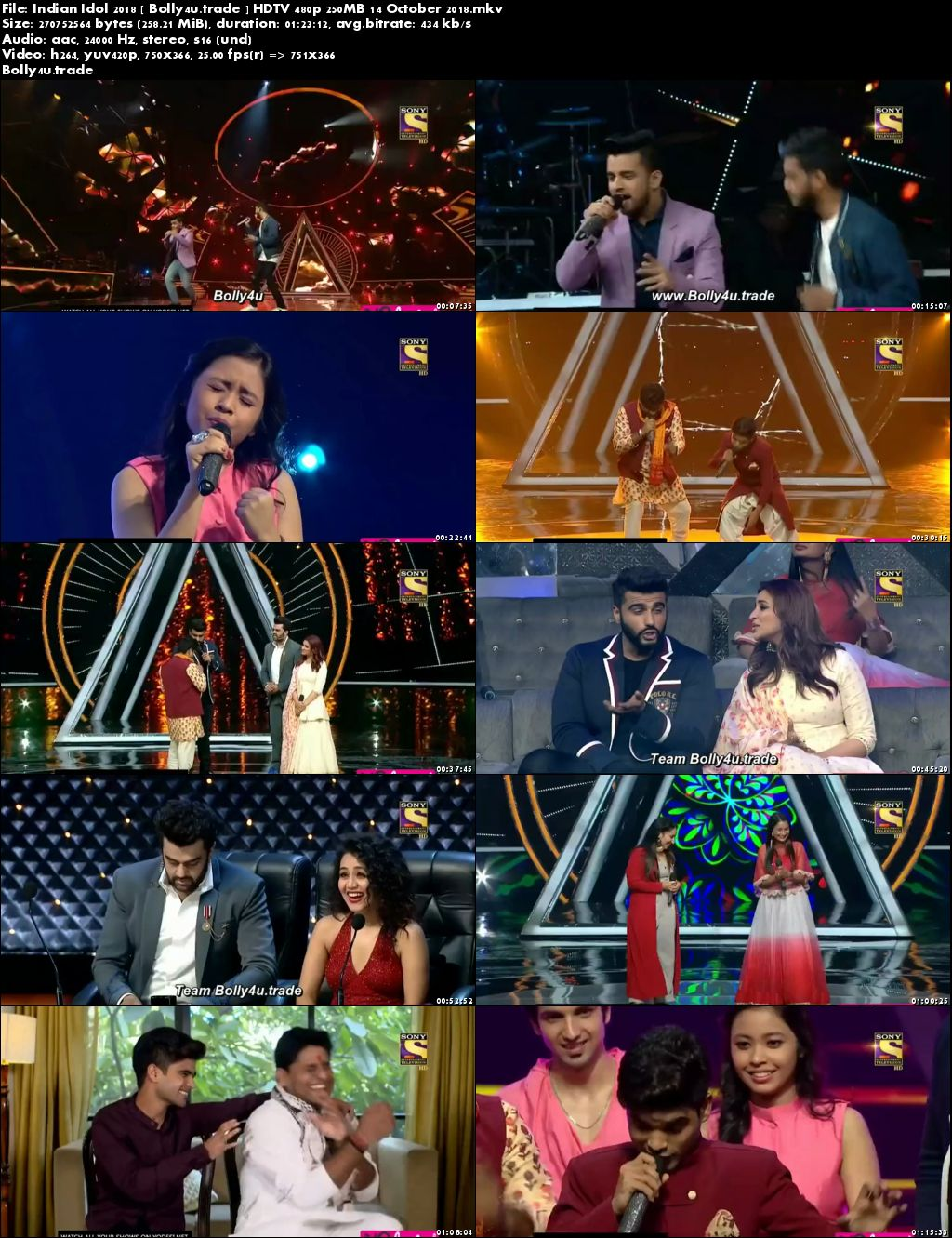 Indian Idol 2018 HDTV 480p 250MB 14 October 2018 Download