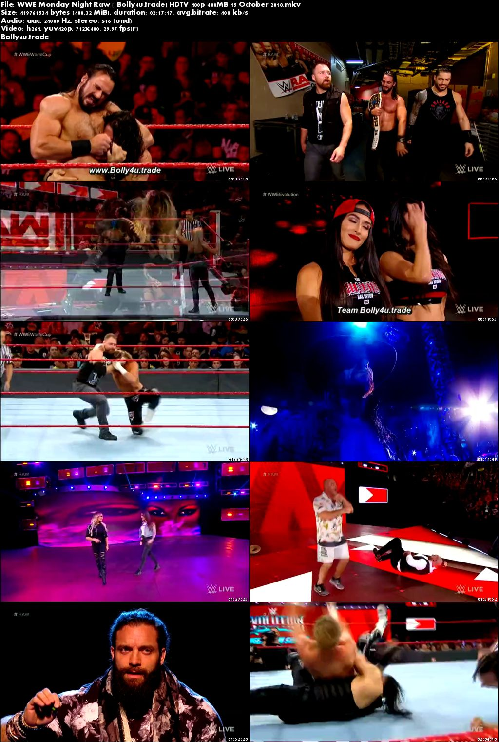 WWE Monday Night Raw HDTV 480p 400MB 15 October 2018 Download