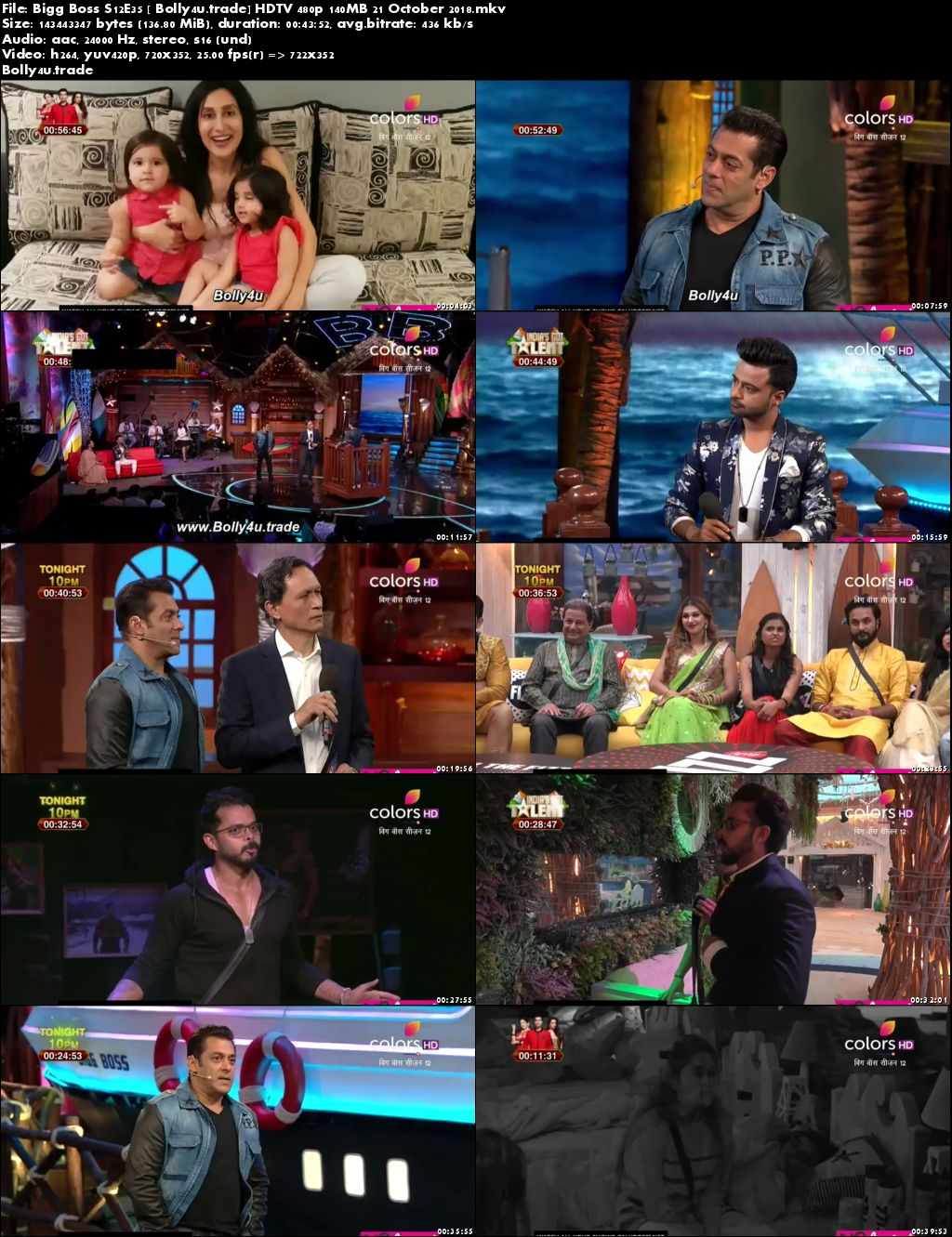 Bigg Boss S12E35 HDTV 480p 140MB 21 October 2018 Download