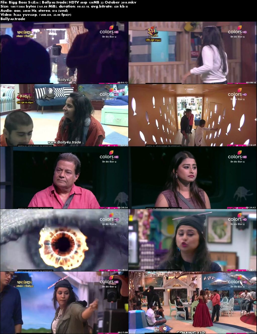 Bigg Boss S12E36 HDTV 480p 140MB 22 October 2018 Download