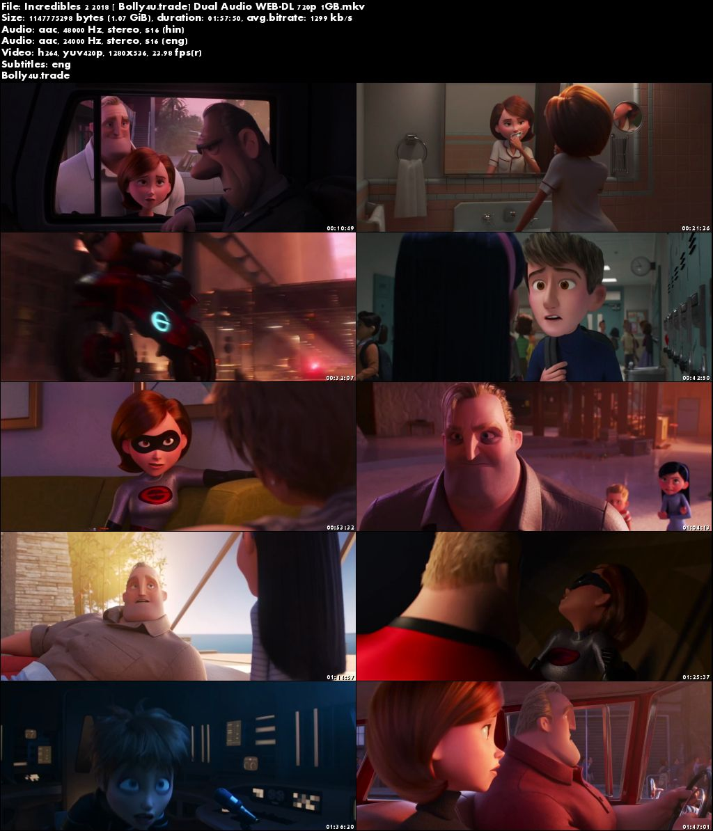 Incredibles 2 2018 WEB-DL 1Gb Hindi Dual Audio 720p ESub Download