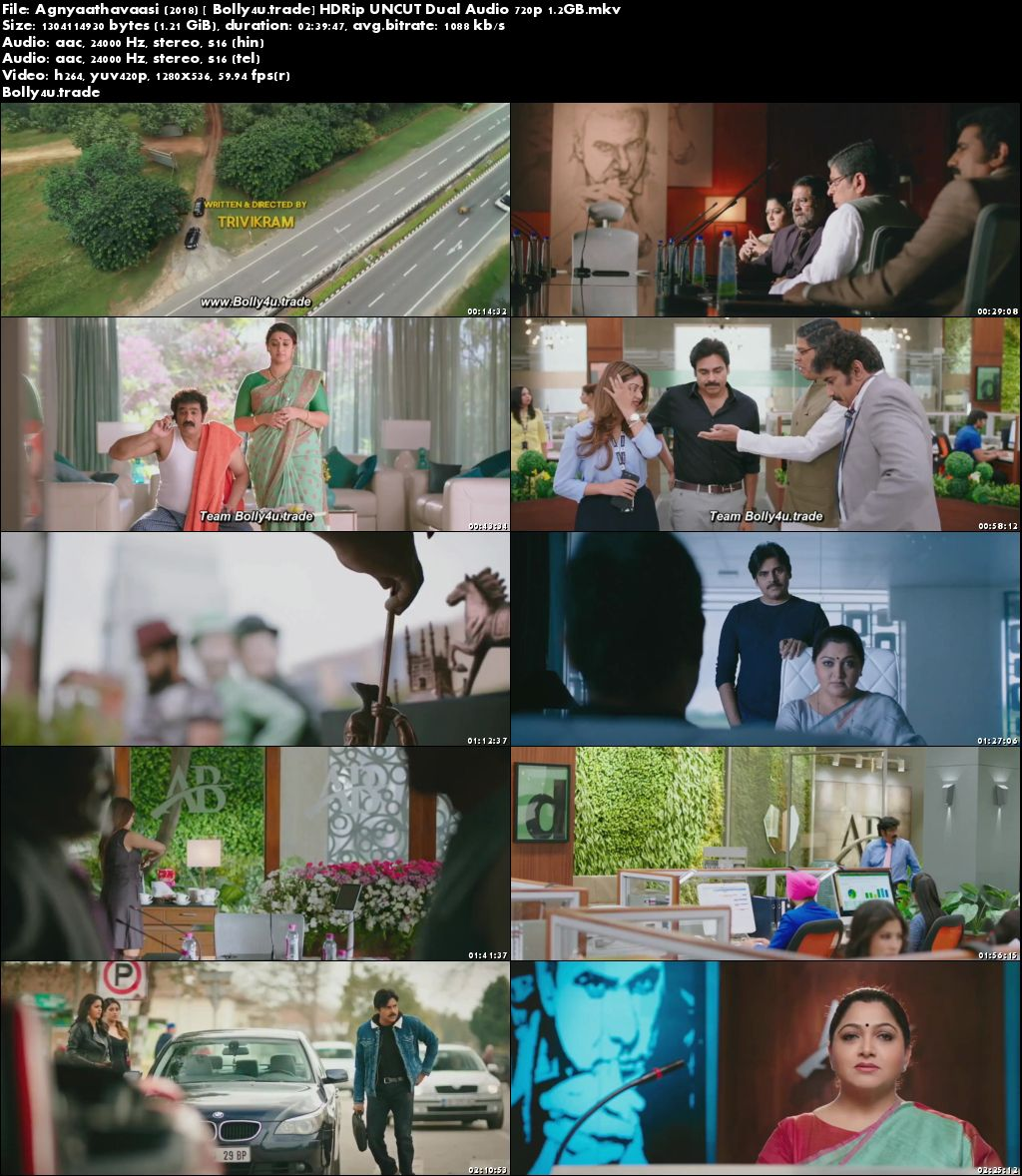 Agnyaathavaasi 2018 HDRip UNCUT Hindi Dual Audio 720p Download