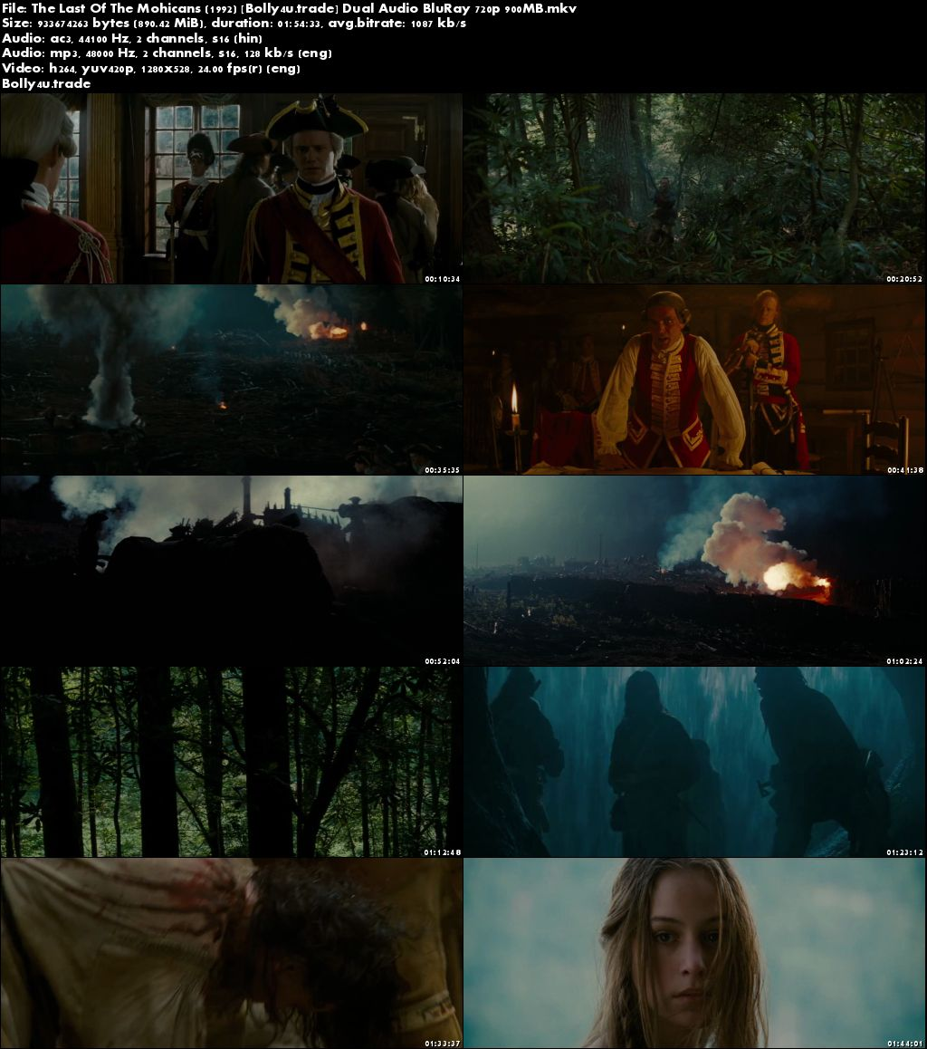 The Last Of The Mohicans 1992 BRRip 900MB Hindi Dual Audio 720p Download