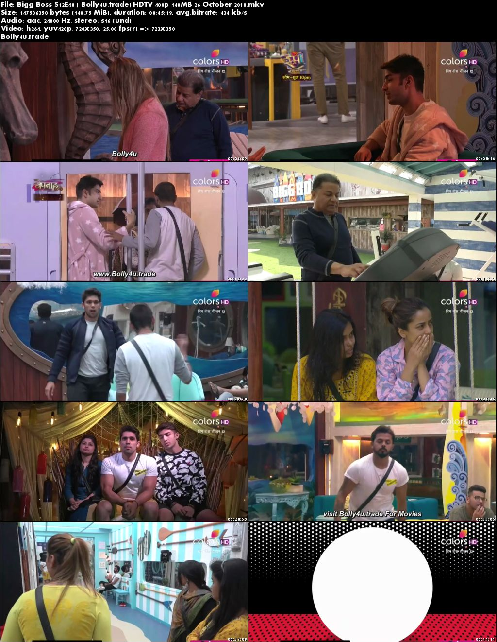 Bigg Boss S12E40 HDTV 480p 140MB 26 October 2018 Download