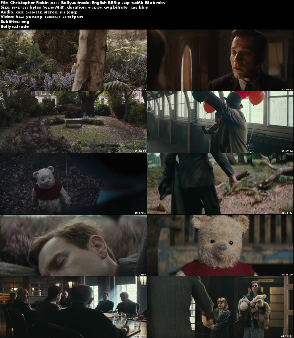 Christopher Robin 2018 BRRip 300Mb English 480p ESub Download