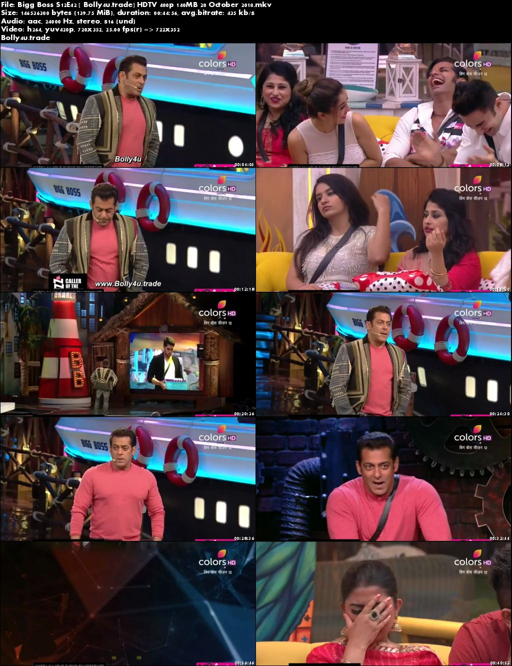 Bigg Boss S12E42 HDTV 480p 140MB 28 October 2018 Download
