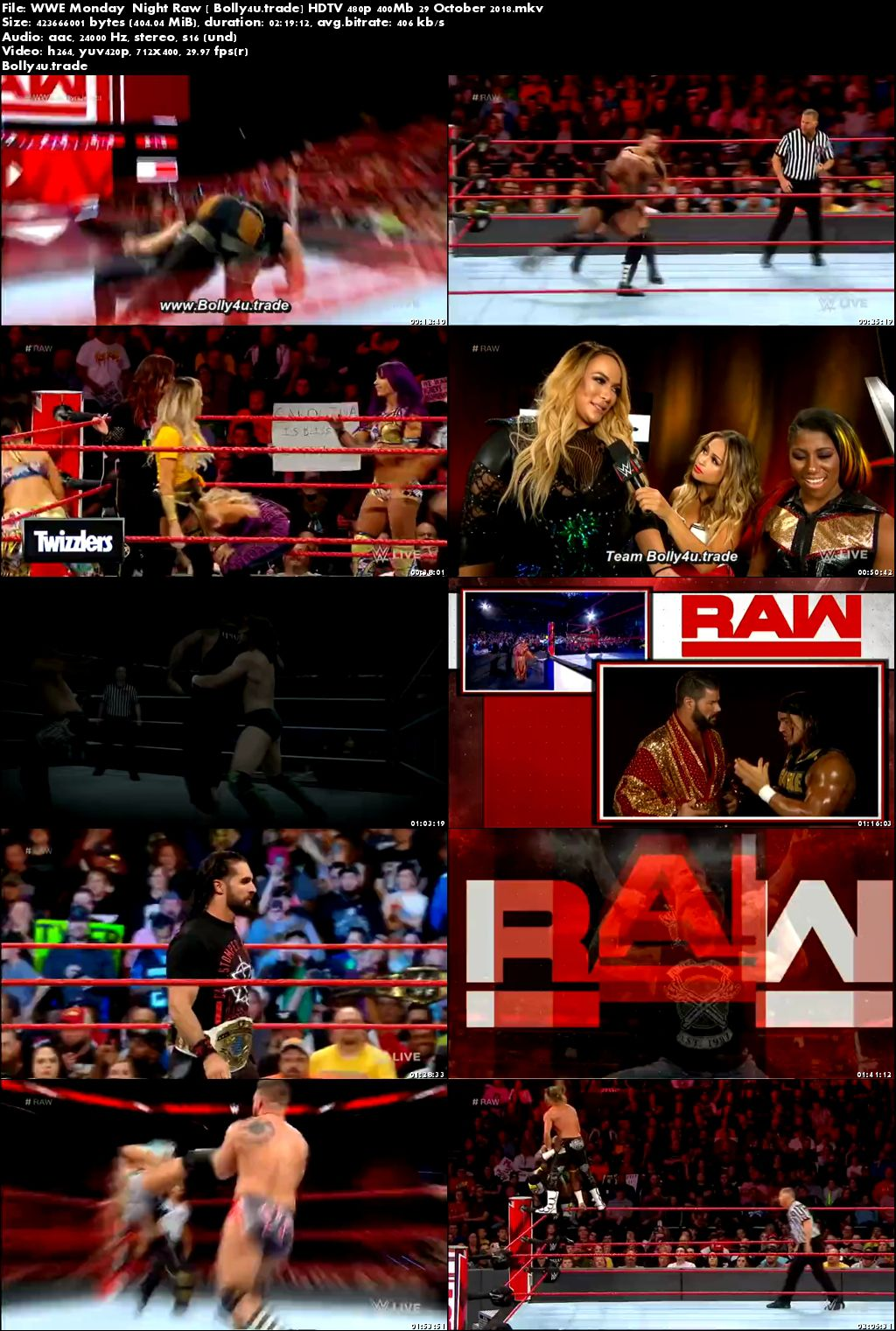 WWE Monday  Night Raw HDTV 480p 400Mb 29 October 2018 Download