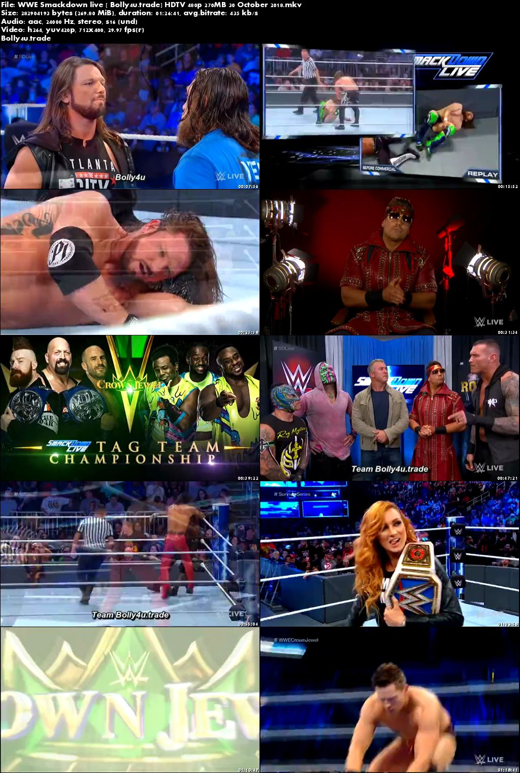 WWE Smackdown Live HDTV 480p 270MB 30 October 2018 Download