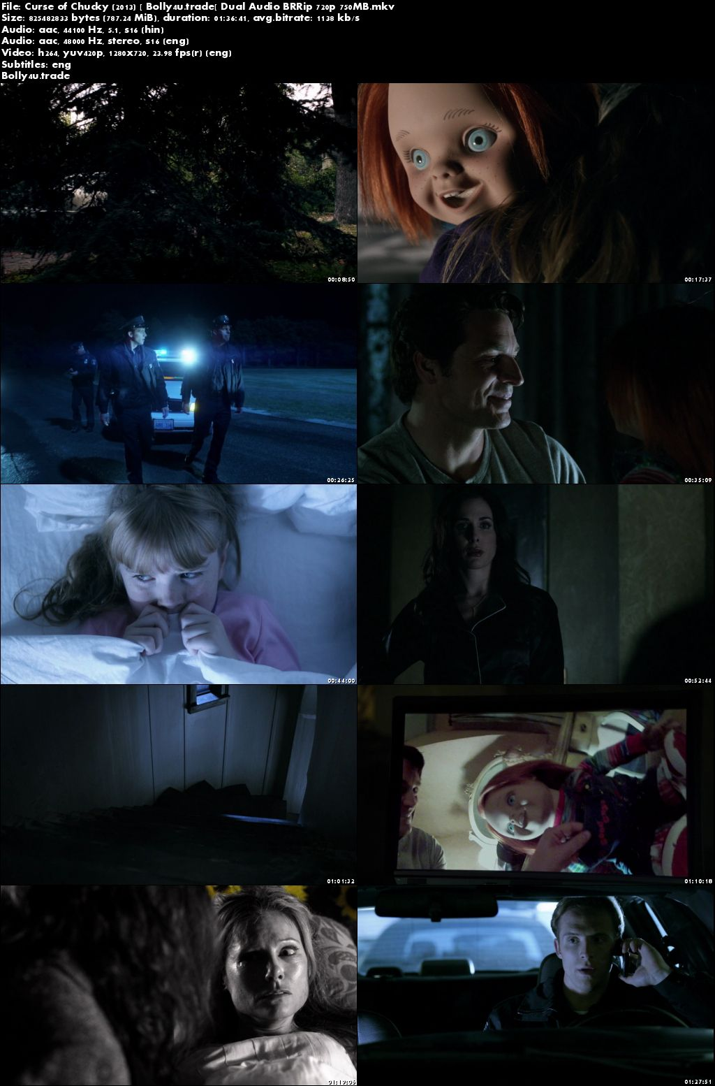 Curse of Chucky 2013 BRRip 750Mb Hindi Dubbed Dual Audio 720p ESub Download