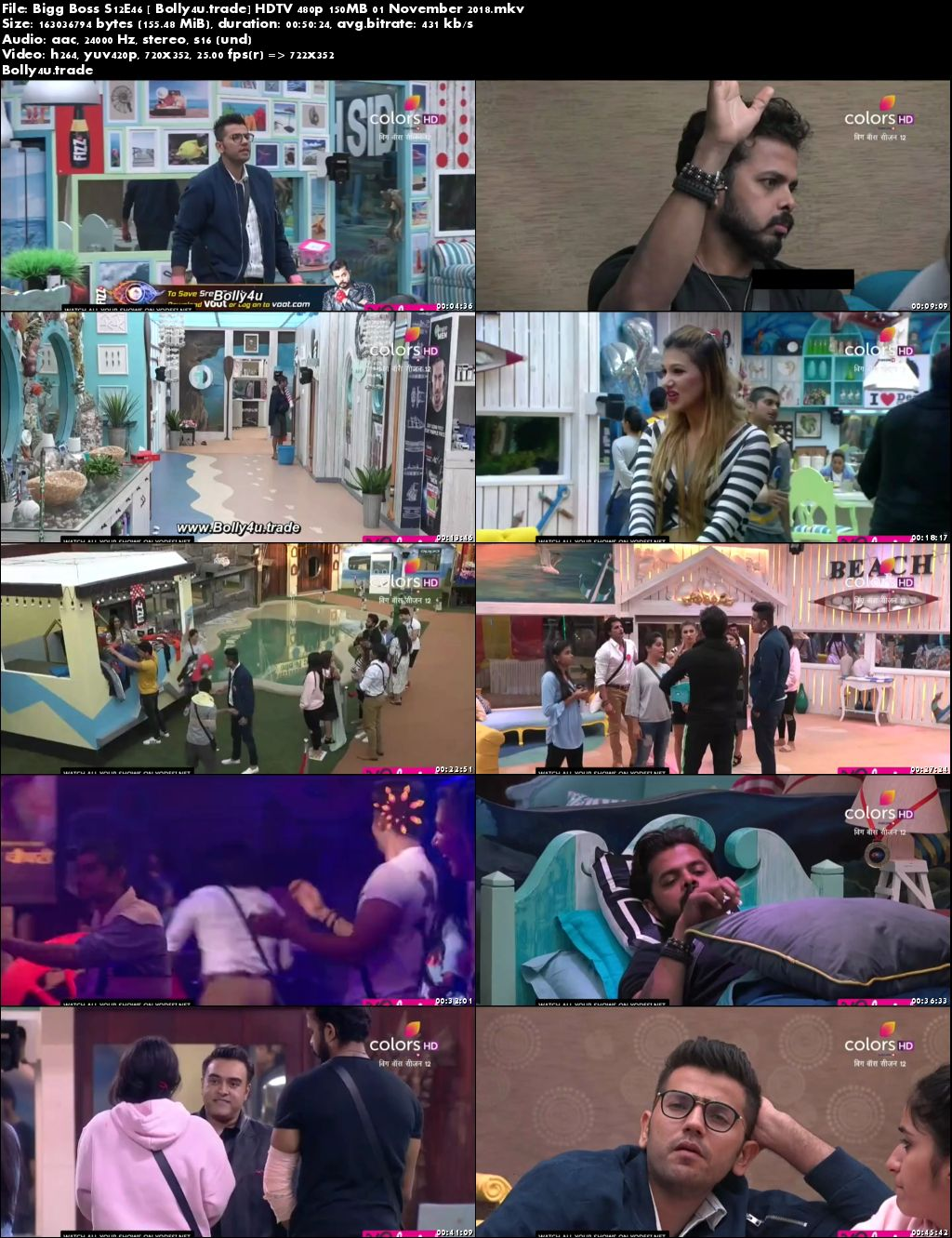 Bigg Boss S12E46 HDTV 480p 150MB 01 November 2018 Download