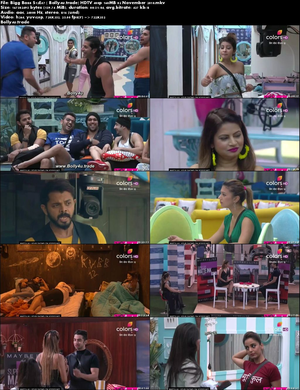 Bigg Boss S12E47 HDTV 480p 160MB 02 November 2018 Download