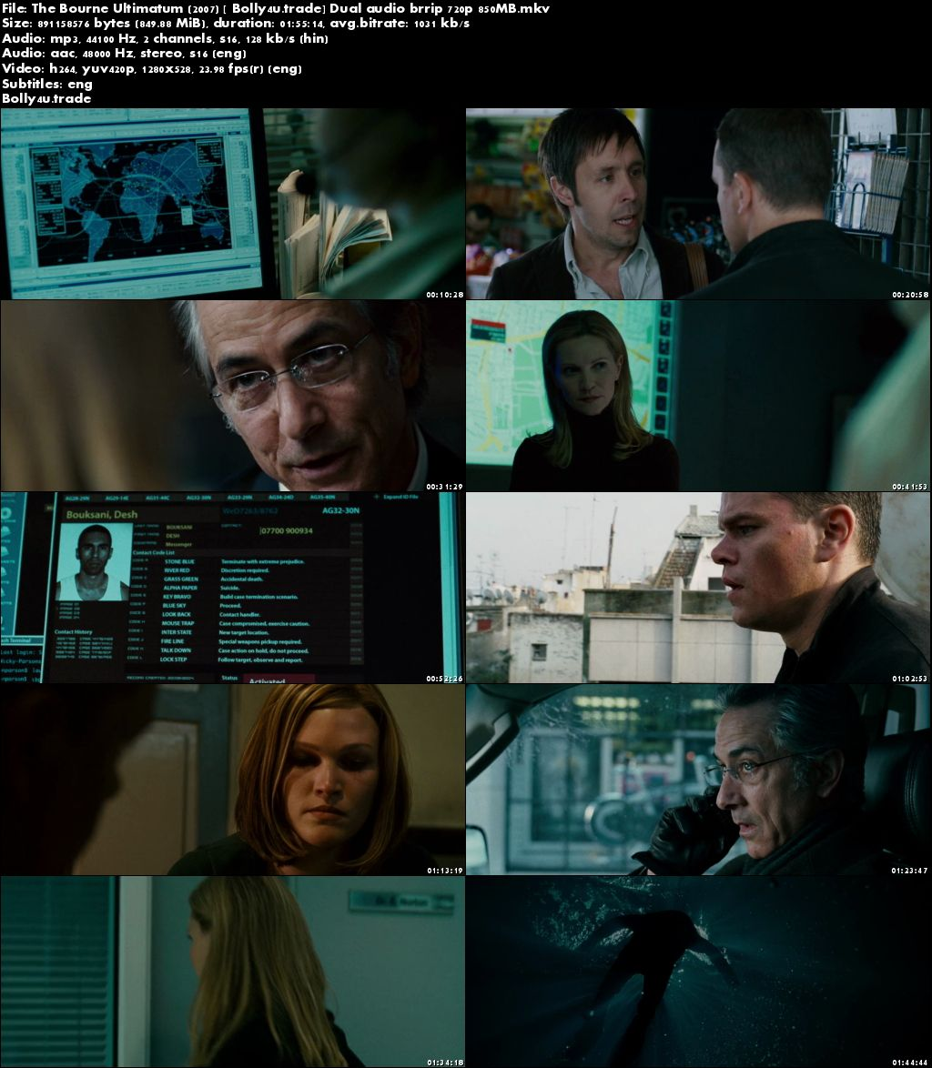 The Bourne Ultimatum 2007 BRRip 850Mb Hindi Dual Audio 720p download