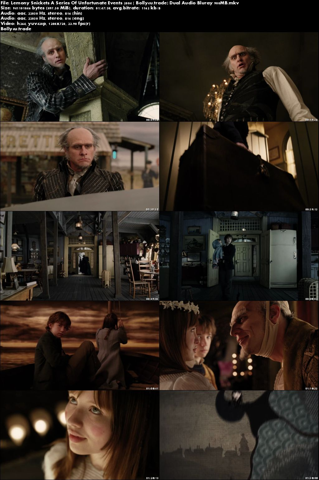 Lemony Snickets A Series Of Unfortunate Events 2004 BRRip 300Mb Hindi Dual Audio 480p Download