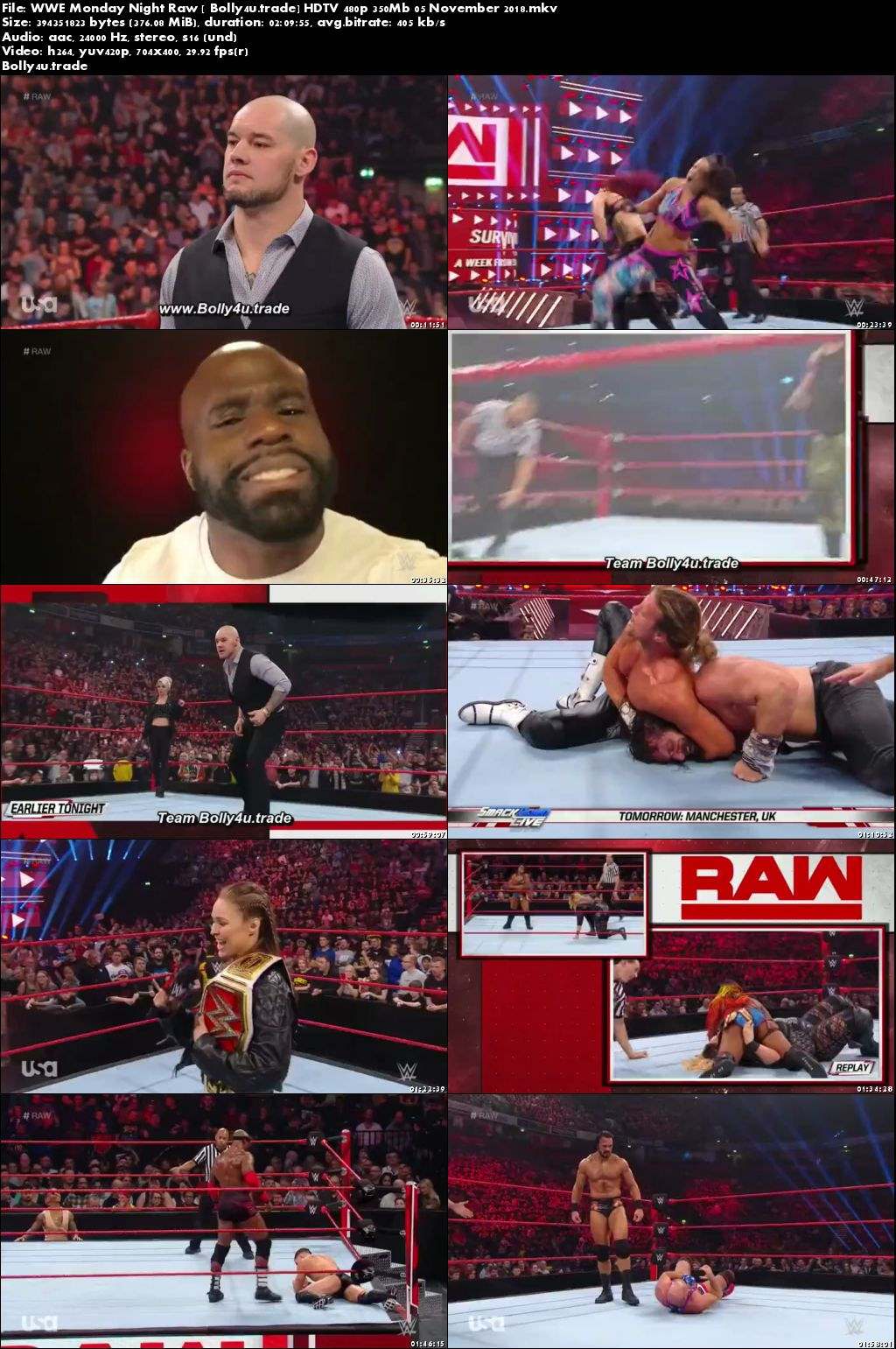 WWE Monday Night Raw HDTV 480p 350Mb 05 November 2018 Download
