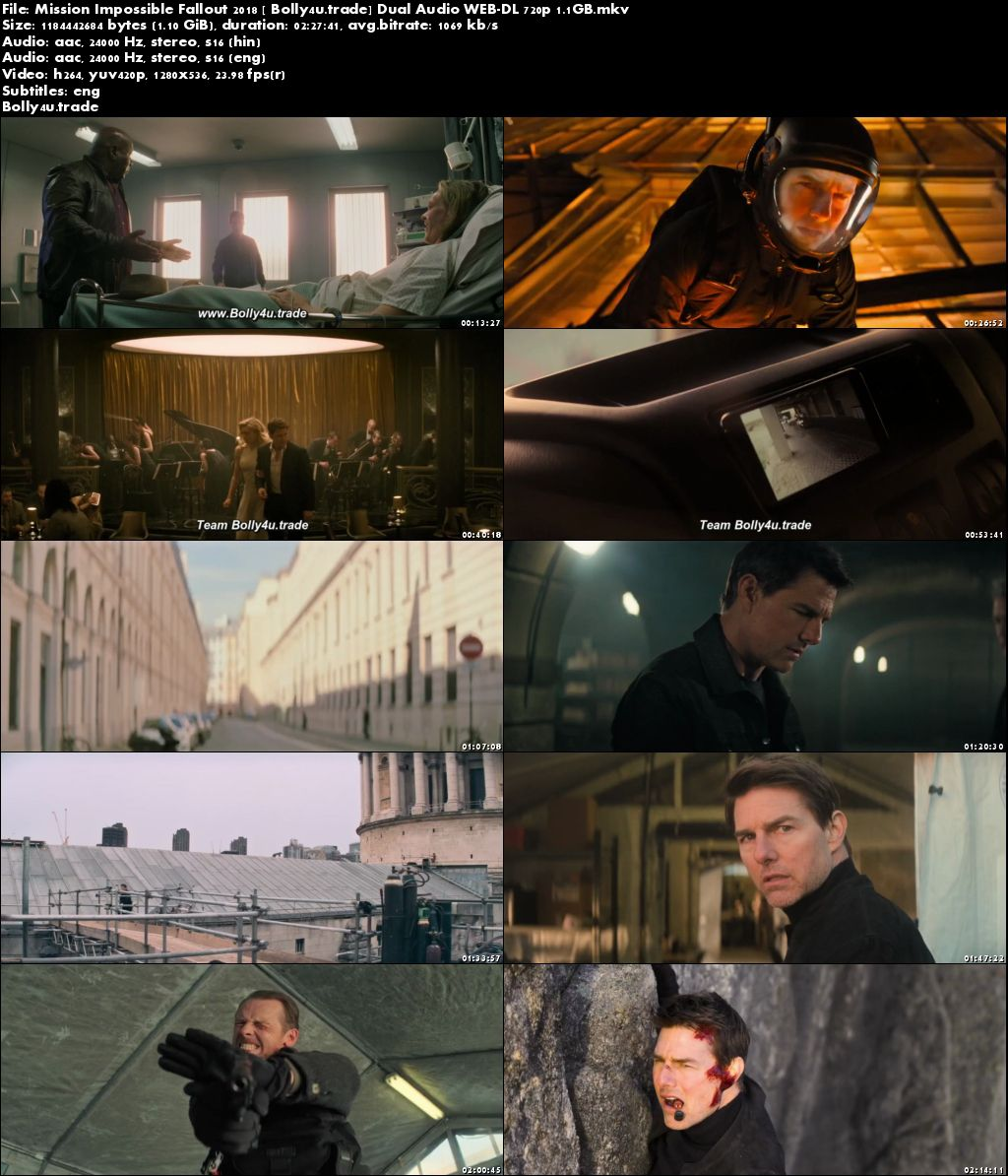 Mission Impossible Fallout 2018 WEB-DL Hindi Dual Audio 720p ESub Download