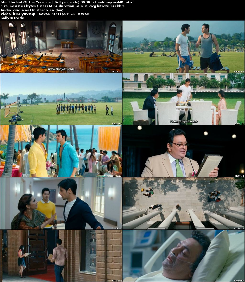Student Of The Year 2012 DVDRip 999MB Hindi 720p Download