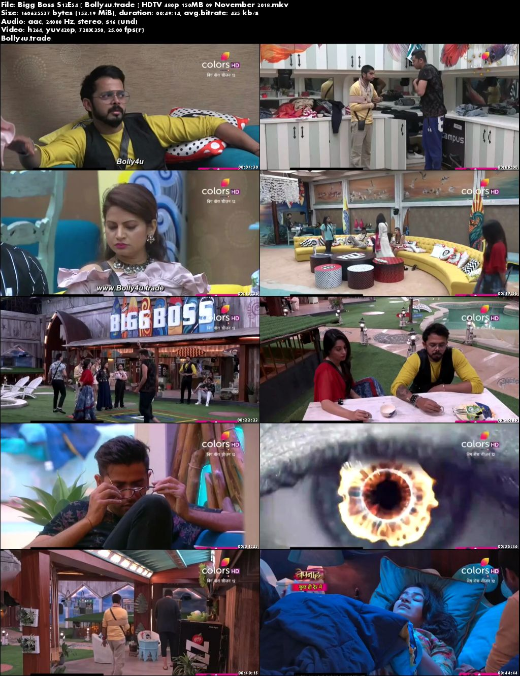Bigg Boss S12E54 HDTV 480p 150Mb 09 November 2018 Download