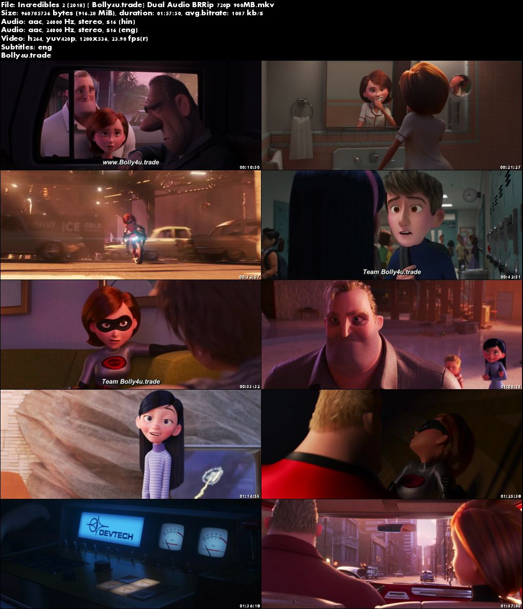 Incredibles 2 2018 BRRip 900Mb Hindi Dual Audio ORG 720p ESub Download