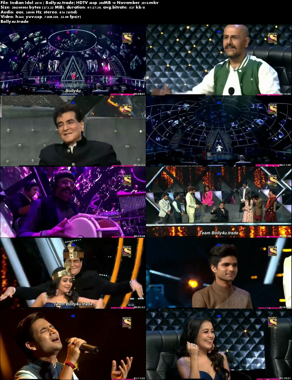 Indian Idol 2018 HDTV 480p 280MB 10 November 2018 Download