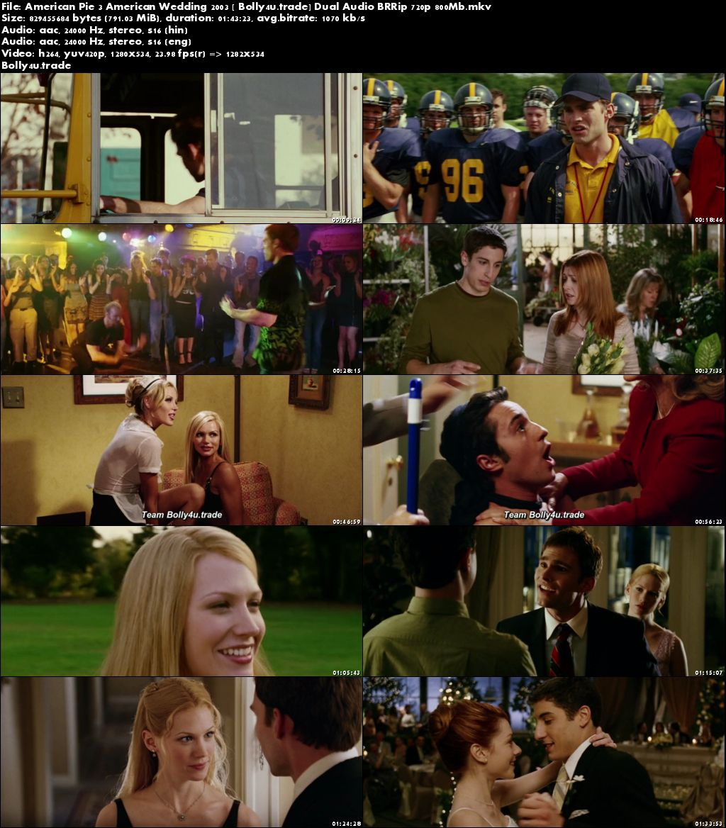 American Pie 3 American Wedding 2003 BRRip 800Mb Hindi Dual Audio 720p Download