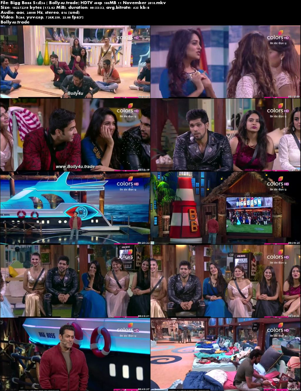 Bigg Boss S12E56 HDTV 480p 180MB 11 November 2018 Download