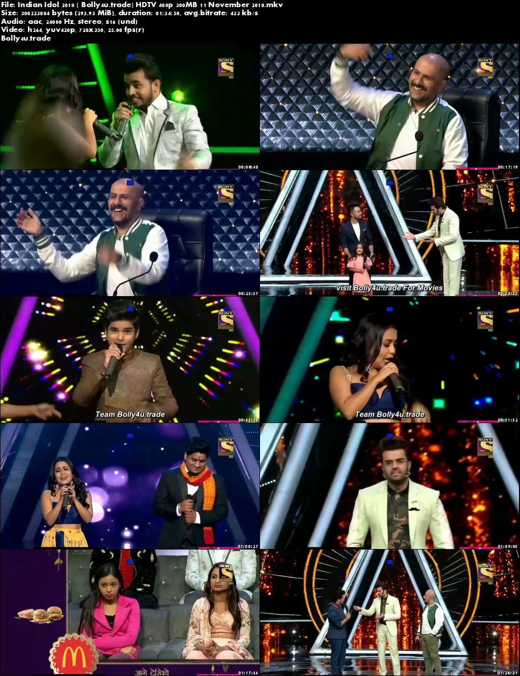 Indian Idol 2018 HDTV 480p 300MB 11 November 2018 Download