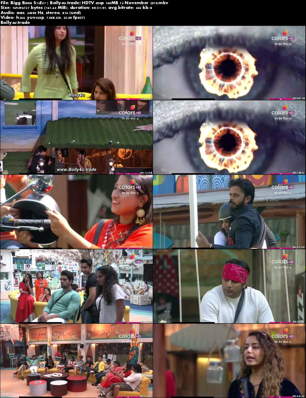 Bigg Boss S12E57 HDTV 480p 160MB 12 November 2018 Download