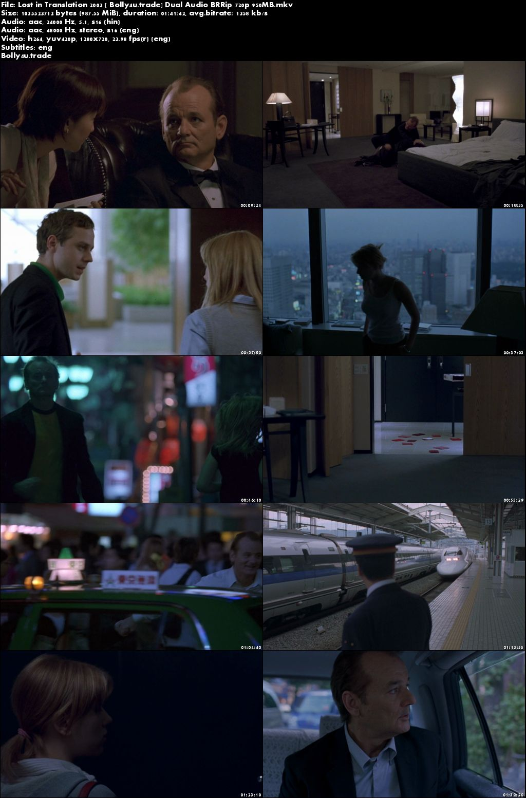 Lost in Translation 2003 BRRip 300MB Hindi Dual Audio 480p Download
