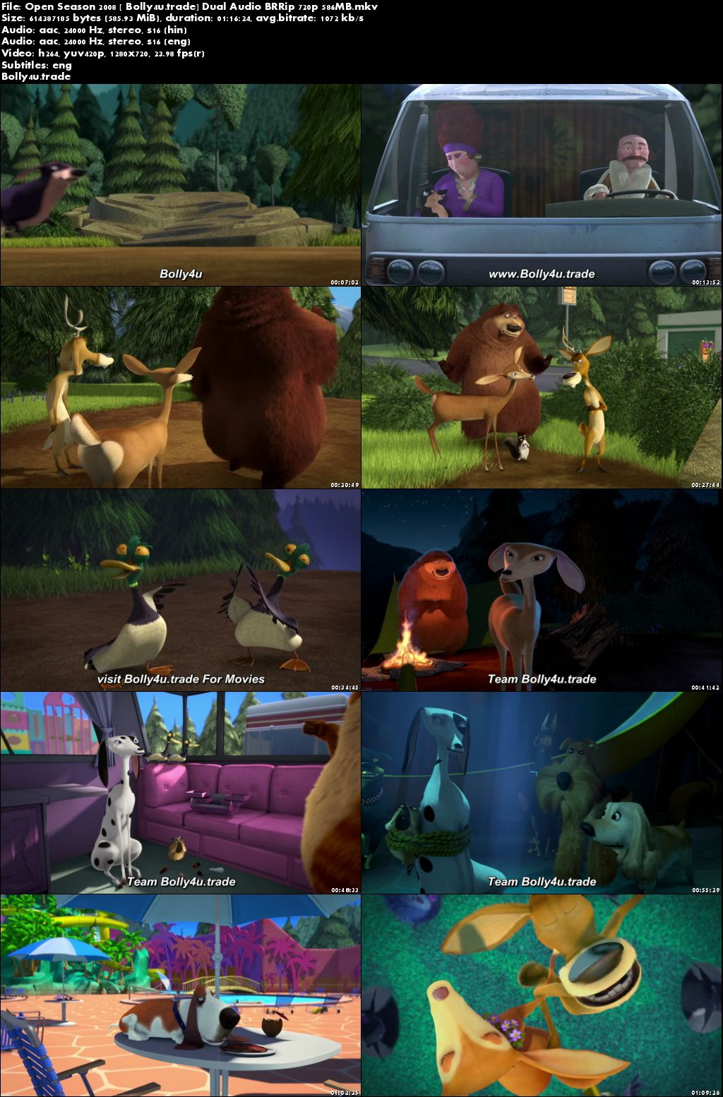 Open Season 2008 BRRip 850Mb Hindi Dual Audio 720p Download