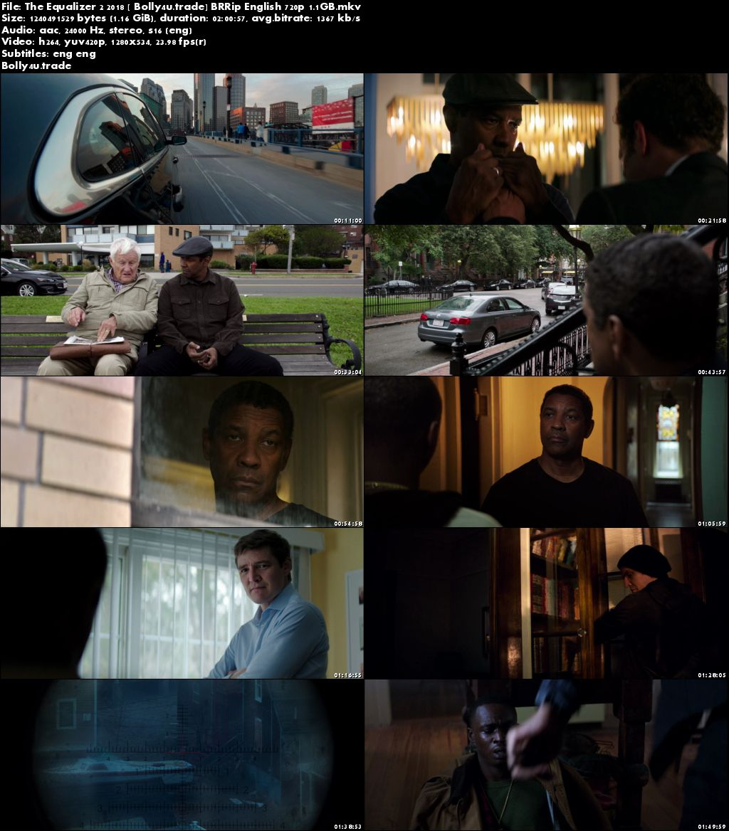 The Equalizer 2 2018 BRRip 1.1GB English 720p ESub Download