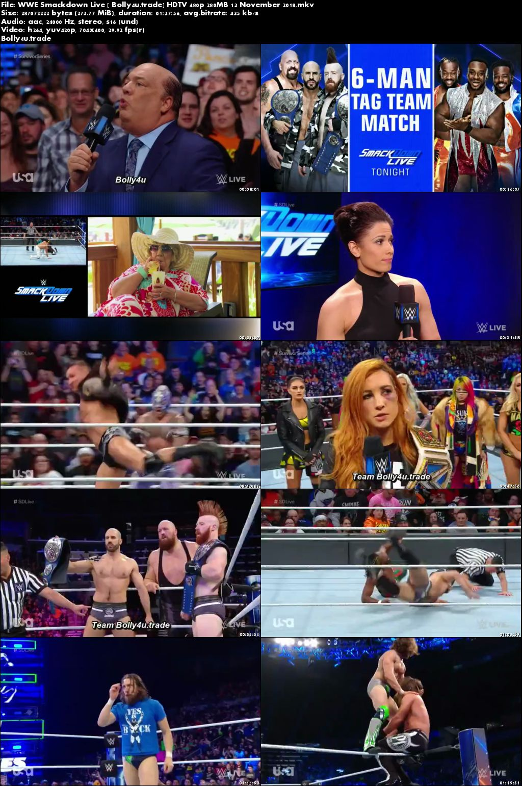 WWE Smackdown Live HDTV 480p 280MB 13 November 2018 Download