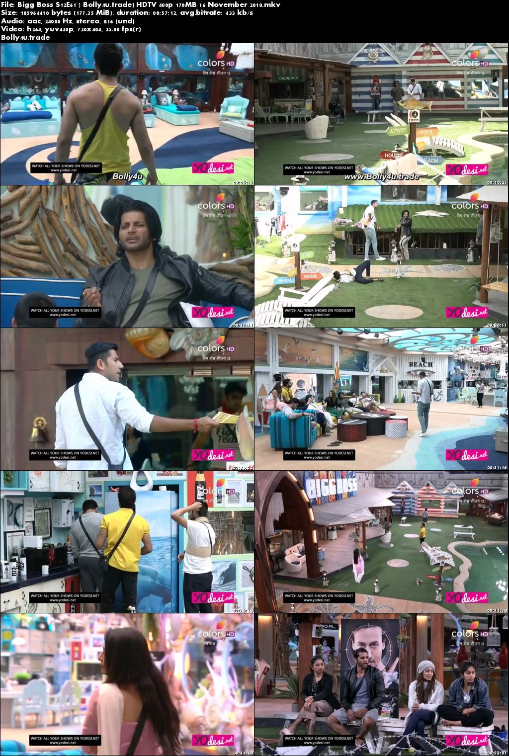 Bigg Boss S12E61 HDTV 480p 170MB 16 November 2018 Download