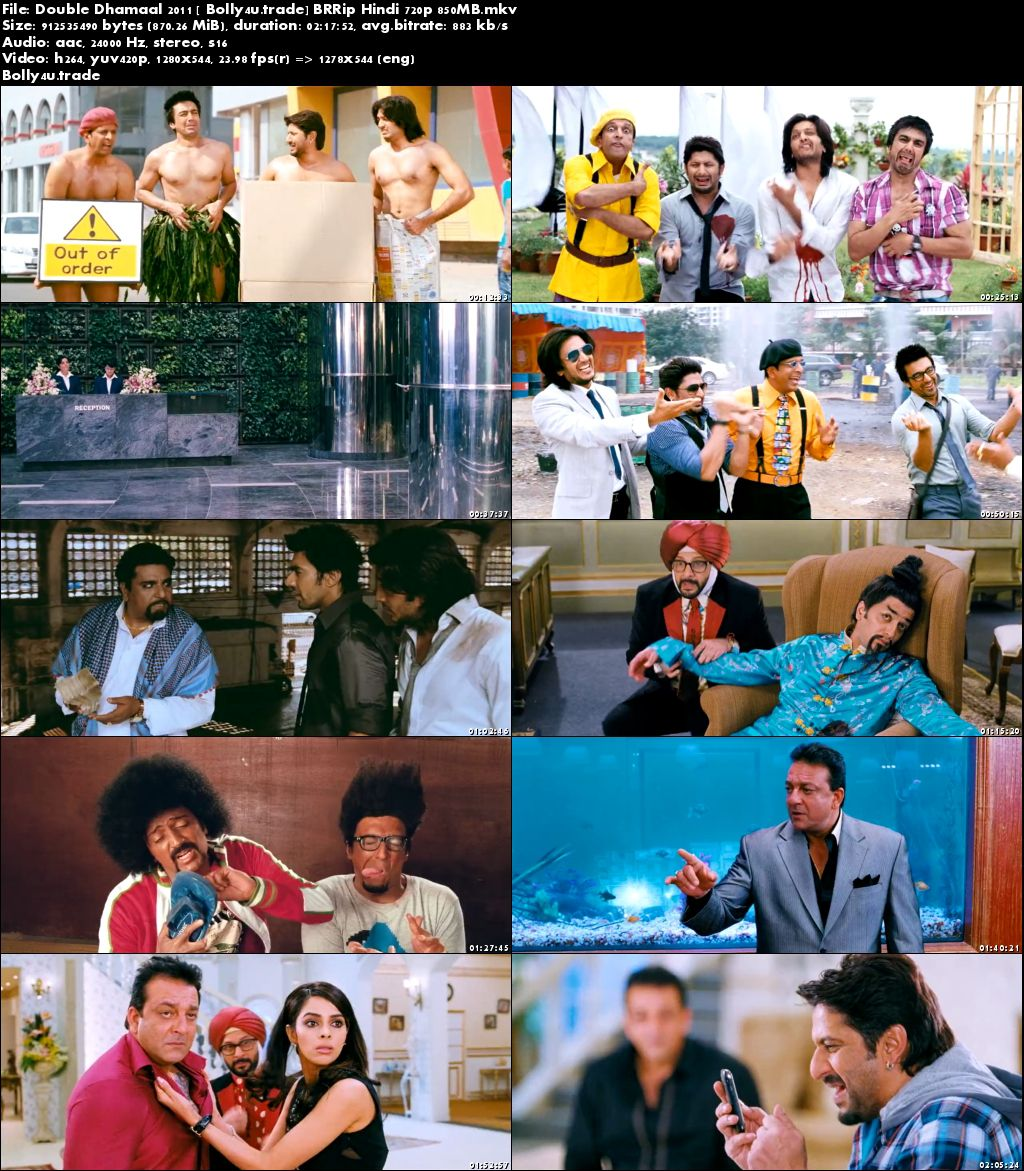 Double Dhamaal 2011 BRRip 400mb Full Hindi Movie Download 480p