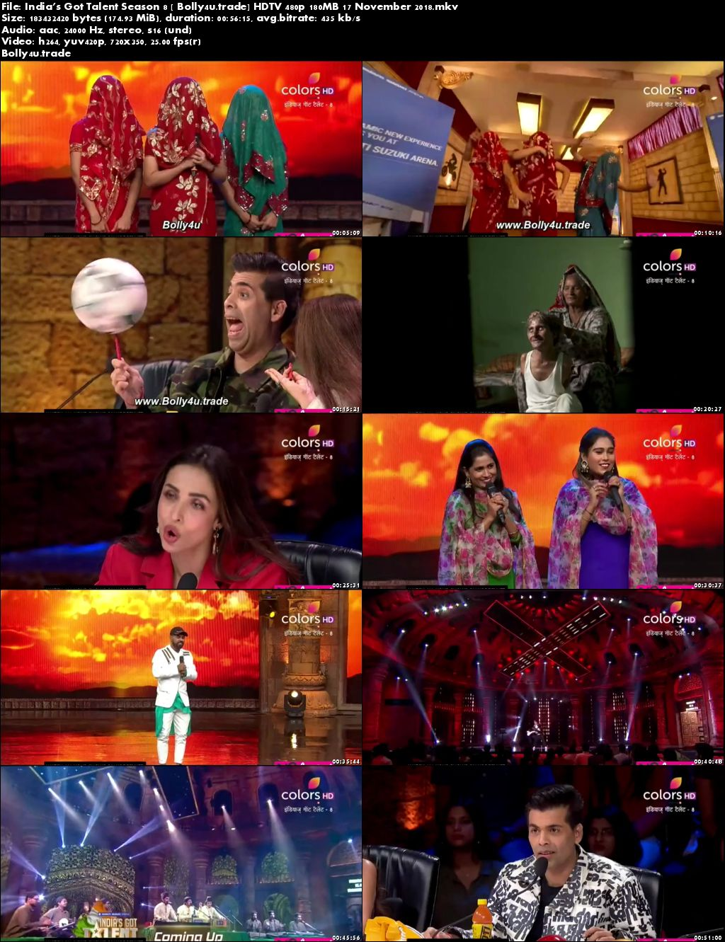 Indias Got Talent Season 8 HDTV 480p 180MB 17 November 2018 Download
