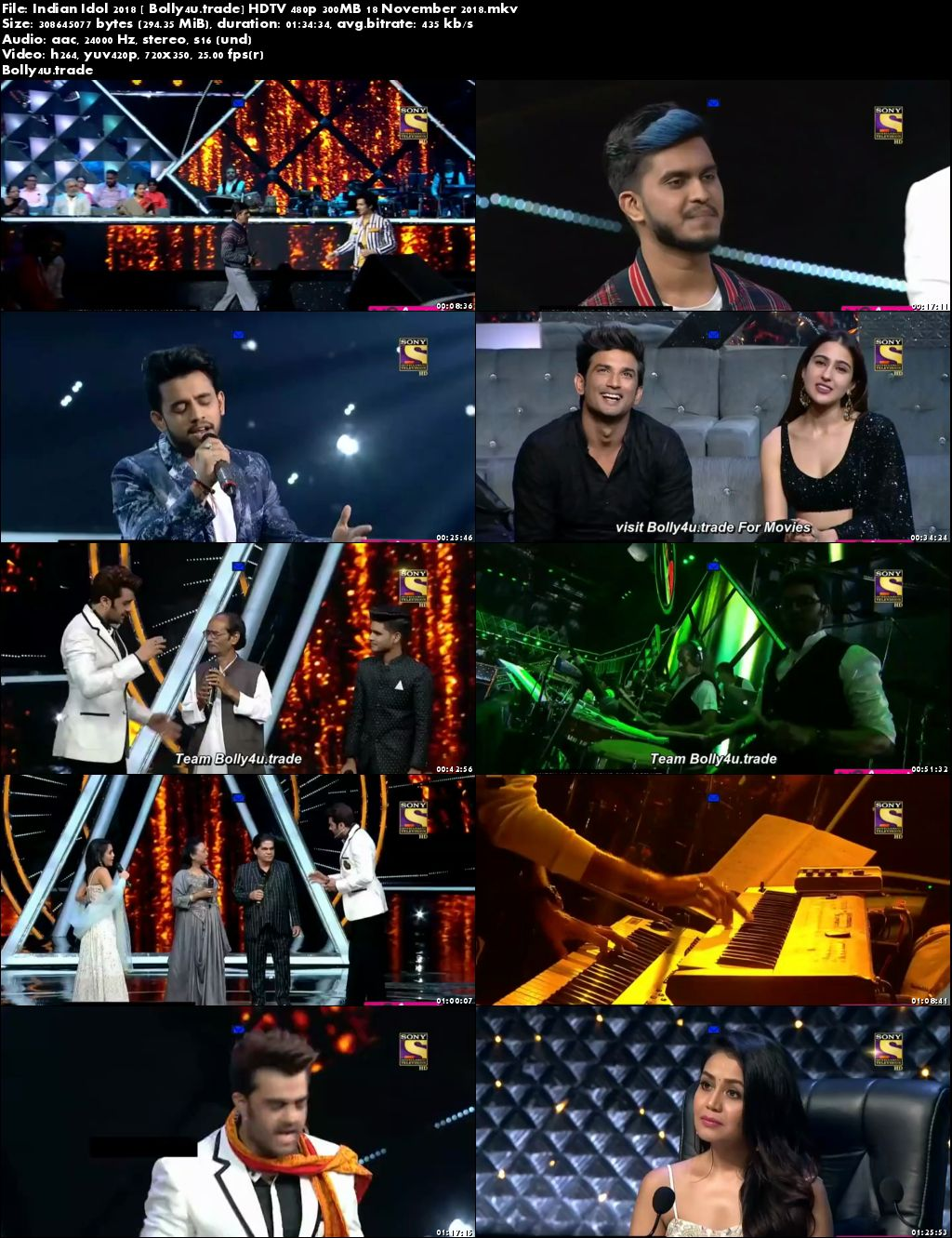 Indian Idol 2018 HDTV 480p 300MB 18 November 2018 Download